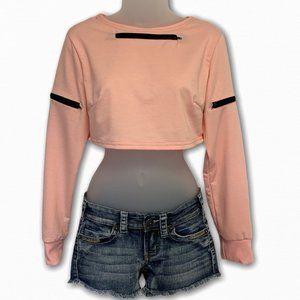 Peachy Pink Long Sleeve Crop Top LG jrs